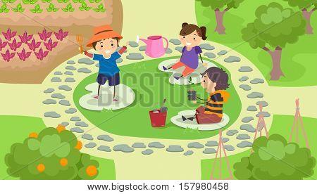 Stickman Illustration of a Group of Preschool Kids Landscaping a Garden