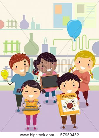 Stickman Illustration of a Group of Preschool Kids Presenting Their Science Projects