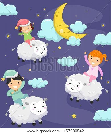 Whimsical Illustration of Stickman Kids in Pajamas Riding Fluffy Sheep