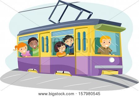 Stickman Illustration of a Group of Preschool Kids Riding a Mini Tram to School