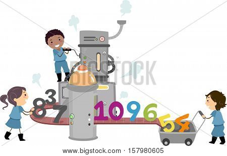 Stickman Illustration of a Group of Preschool Kids Manufacturing Numbers at a Factory