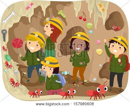 Stickman Illustration of a Group of Preschool Kids in an Ant Tunnel Mining Treats