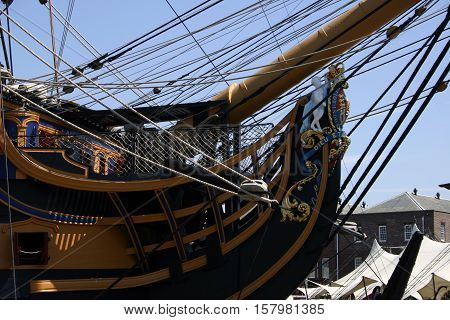 HMS Victory, Portsmouth England. Photographed at Portsmouth Navy Days 30th July 2010. (foredeck and bowsprit)