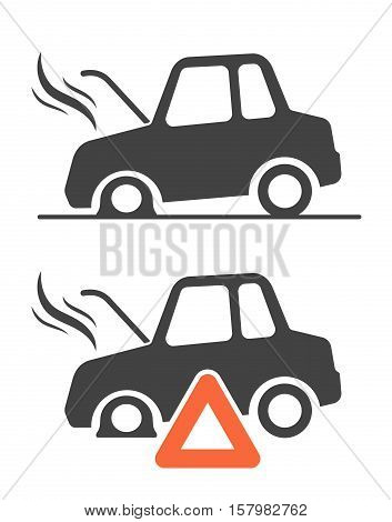 Vector graphic icons of warning triangle and breakdown cars isolated on white