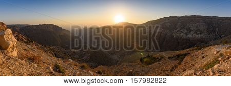 Panorama of Dana Biosphere Reserve, Jordan, at sunset