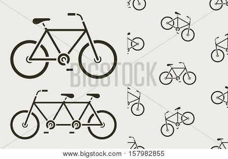 Vector icons set and seamless pattern of bicycles tandem on warm gray background