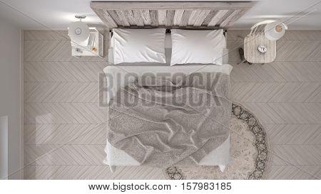 DIY bedroom bed with wooden headboard scandinavian white eco chic design, 3d illustration