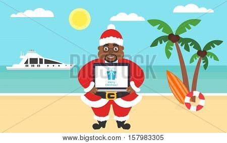 Summer background - sunny beach. Sea, yacht, palm tree and afroamerican santa. Computer with congratulations for Merry Christmas and New Year. Vector flat illustration.