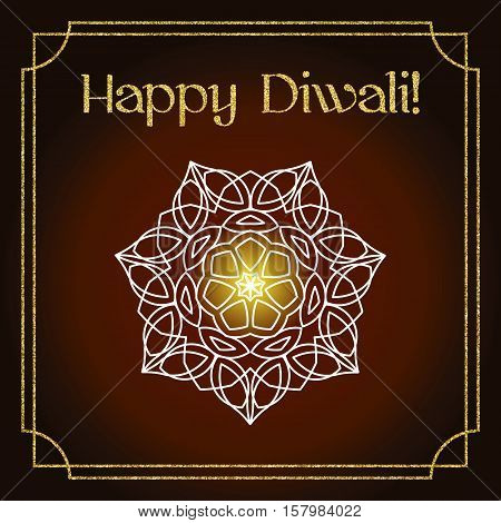 Diwali celebration background. Indian festival of lights. Greeting card with white floral mandala, gold glitter frame. Text Happy Diwali. Realistic gold sequins with blinks. Vector EPS10 illustration.