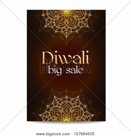 Diwali big sale banner. Indian festival of lights. Coupon with gold glitter shiny floral mandala. Special discount offer. Realistic gold sequins with blinks. Vector EPS10 illustration.