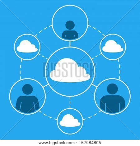 Vector graphic of family social networking with cloud concepts against blue sky