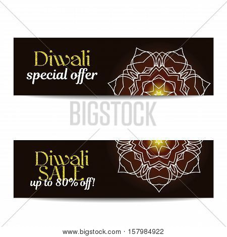 Set of Diwali big sale banners. Indian festival of lights. Coupons with gold glitter shiny text and floral mandalas. Special discount offer. Realistic gold sequins. Vector EPS10 illustration.