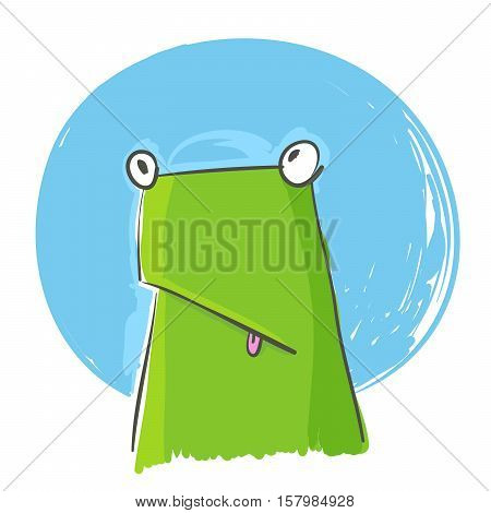 Vector doodle of confused green frog over blue and white background