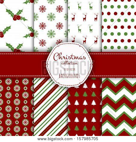 Collection of seamless patterns with red and white colors.  Set of seamless backgrounds with traditional symbols - snowflakes, pine tree, deer, holly berry and suitable abstract patterns.