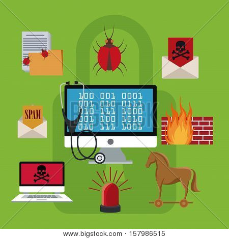 Computer and icon set. Cyber security system warning and protection theme. Vector illustraton