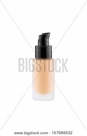Foundation cosmetic glass tube with copy space, tone cream, moisturiser concept, isolated on white