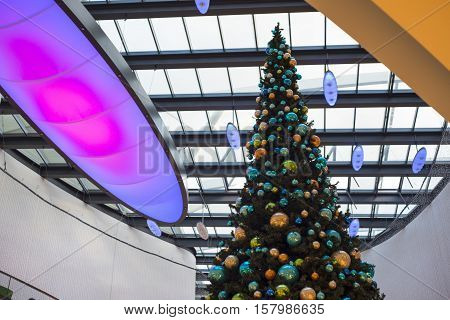 Christmas tree in shopping mall during Christmas time