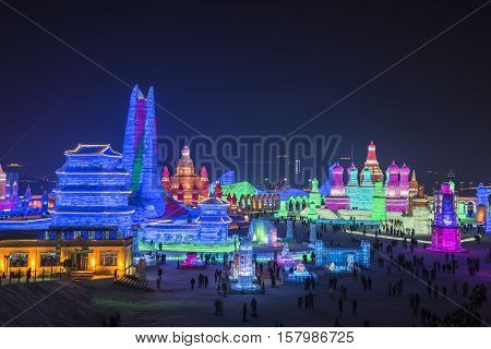 HARBIN PEOPLE'S REPUBLIC OF CHINA - 15 JANUARY 2016: Ice Sculpture at the Harbin Snow and Ice Festival 2016 shown on 15 Jan 2016 in Harbin People's Republic of China.