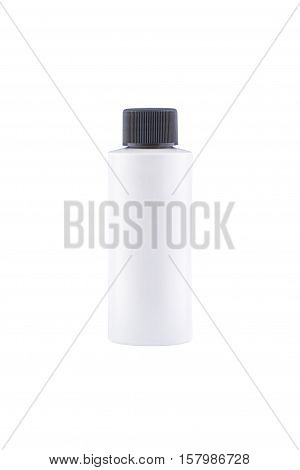 Shampoo with moisturising effect in white bottle with copy space, isolated on white