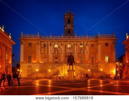 Campidoglio square, Capitoline hill in Rome at night, Italy, toned