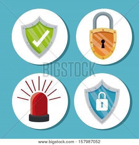 Padlock shield and alarm icon. Cyber security system warning and protection theme. Vector illustraton