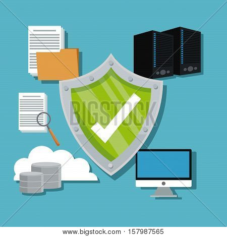 Shield computer cloud and document icon. Cyber security system warning and protection theme. Vector illustraton