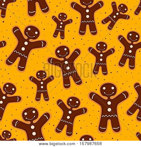 Christmas festive decoration. Seamless pattern from cookies with chocolate. Vector illustration