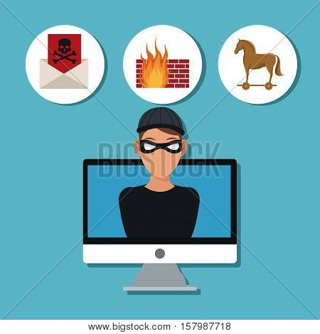 Hacker and computer icon. Cyber security system warning and protection theme. Vector illustraton