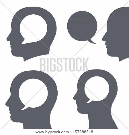 Vector icons set of speech bubble inside human heads isolated on white