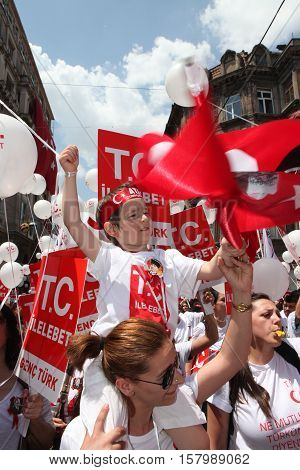 ISTANBUL,TURKEY-MAY 19 :The police did not allow the march of Turkish nationalist groups on May 19, the anniversary of the Turkish national liberation war on May 19, 2013 in Istanbul, Turkey.