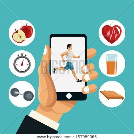 Man running smartphone and icon set. Healthy lifestyle fitness sport and bodycare theme. Vector illustration