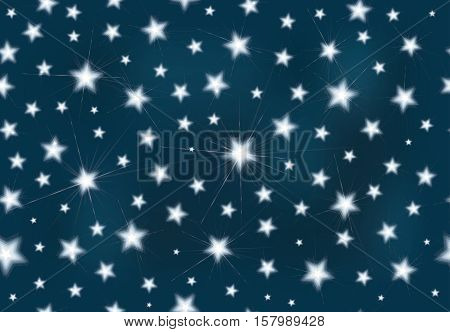 Vector seamless pattern, starry night blue background.