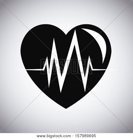Heart with pulse icon. Healthy lifestyle fitness sport and bodycare theme. Vector illustration