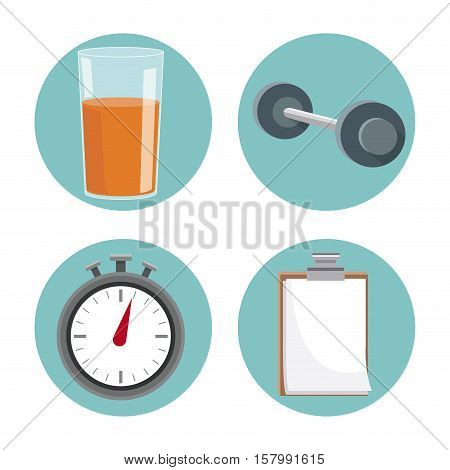 Juice weight document and chronometer icon. Healthy lifestyle fitness sport and bodycare theme. Vector illustration