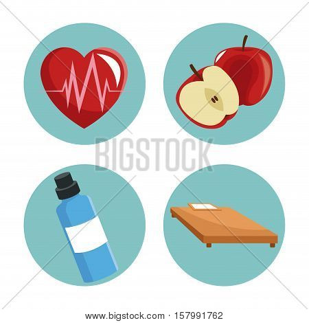 Heart apple bottle and bed icon. Healthy lifestyle fitness sport and bodycare theme. Vector illustration
