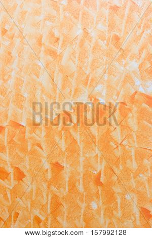 Abstract art orange color paint in cement wall vertical pattern background.