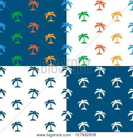 Vector set of seamless tropical palm tree island pattern against white and blue backgrounds