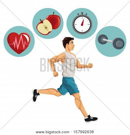 Man running and icon set. Healthy lifestyle fitness sport and bodycare theme. Vector illustration