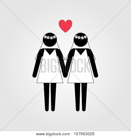 Lesbian couple in wedding dress with red heart vector icon, lesbian marriage