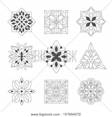 Regular Shape Doodle Ornamental Figures In Black In White Color For The Zen Adult Coloring Book Set Of Illustrations. Collection Of Geometric Repetitive Vector Patten Designs To Color. poster