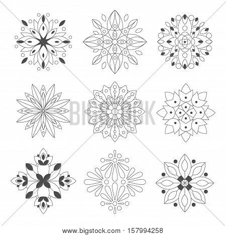 Regular Shape Doodle Ornamental Figures In Monochrome Color For The Zen Adult Coloring Book Set Of Illustrations. Collection Of Geometric Repetitive Vector Patten Designs To Color.