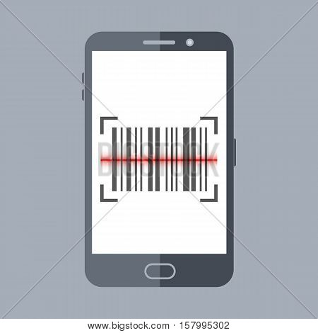 Scan barcode with smartphone. Flat design icon, illustration of mobile application scanning for code.