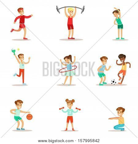 Kids Practicing Different Sports And Physical Activities In Physical Education Class Gym And Outdoors. Children Playing Football, Table Tennis, Basketball And Doing Athletic Exercises. Sportive Teenagers Happy To Do Sportive Training Set Of Cartoon Vector