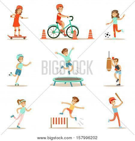 Kids Practicing Different Sports And Physical Activities In Physical Education Class Gym And Outdoors. Children Playing Football, Baseball, Riding Bicycle And Boxing. Sportive Teenagers Happy To Do Sportive Training Set Of Cartoon Vector Illustrations.