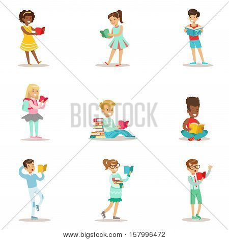 Children Who Love To Read Set Of Illustrations With Kids Enjoying Reading Books At Home And In The Library. Teenager Bookworms Collection Of Cartoon Vector Characters Smiling And Enjoying Their Pastime.