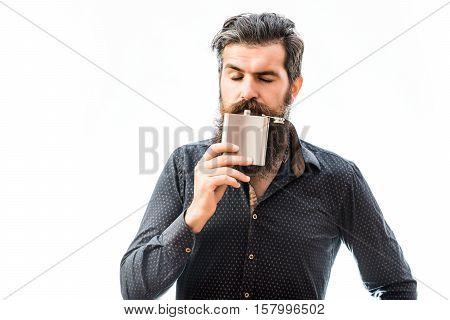 Bearded Man With Metallic Flask