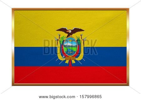 Ecuadorian national official flag. Patriotic symbol banner element background. Correct colors. Flag of Ecuador golden frame fabric texture illustration. Accurate size color