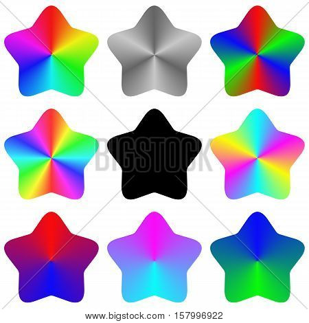 Abstract isolated gradient rainbow star set for rating system
