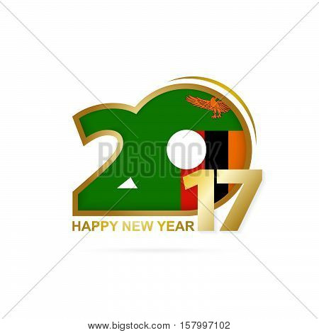 Year 2017 With Zambia Flag Pattern. Happy New Year Design On White Background.