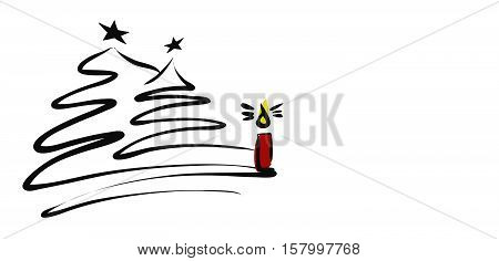 Two Chistmas Trees With Burning Candle And Copy Space